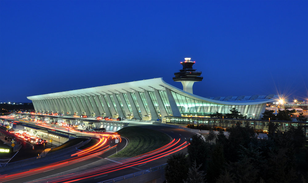 Photo of an airport at night