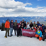 Booth Evening and Weekend MBA students on a ski trip with the Outdoors Club