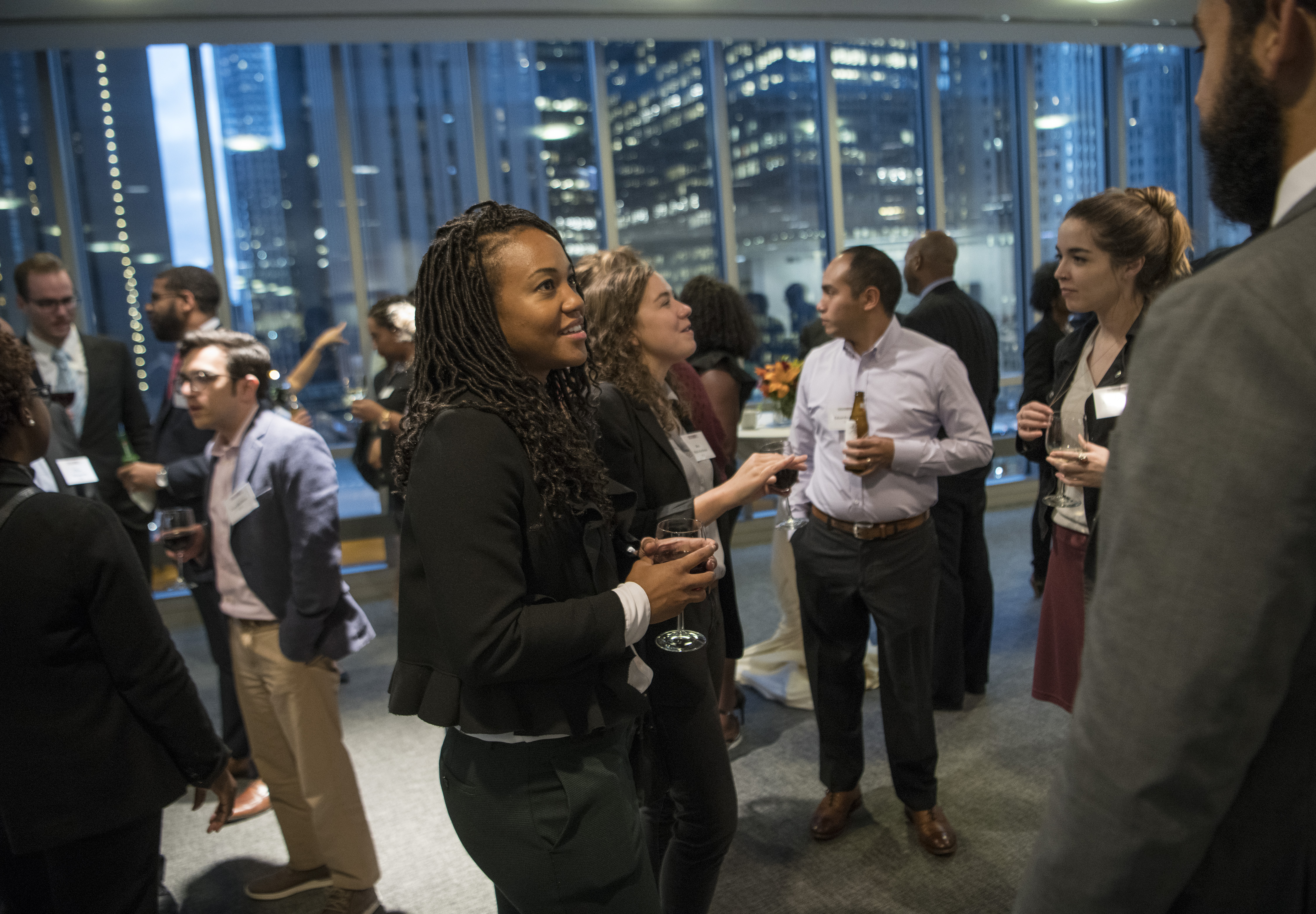 MBA students at a diversity reception.