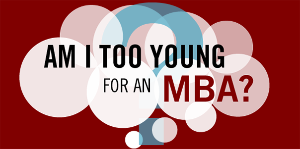 """Am I too Young for an MBA?"" in a thought bubble"