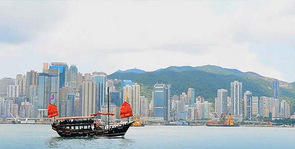 Hong Kong Skyline with Dragon Boats