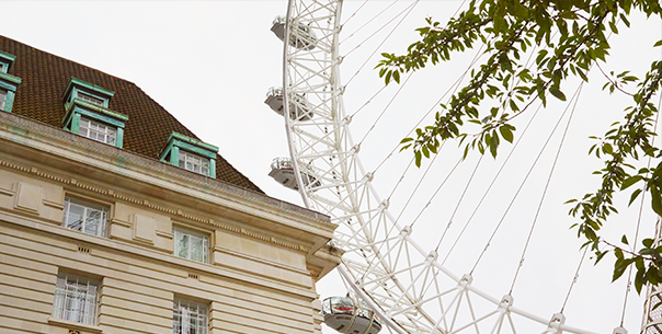 A view of the London Eye between a tee and a building