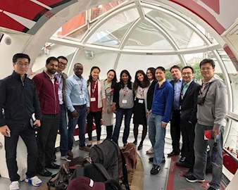 A group of Executive MBA students in the London eye