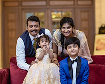 Booth EMBA Asia student Gopi Krishna Saladi with family