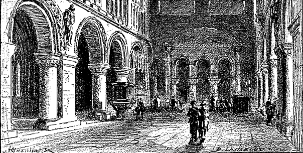 ancient illustration of inside of St. Bartholomew's in London, England