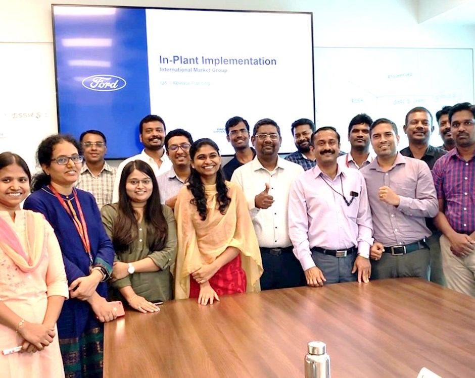 Hong Kong student Gopi Krishna Saladi and Ford Motor Company's In-Plant Implementation team