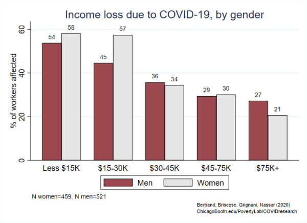 Finding 1 Vertical Bar Graph of Income loss due to COVID-19, by gender