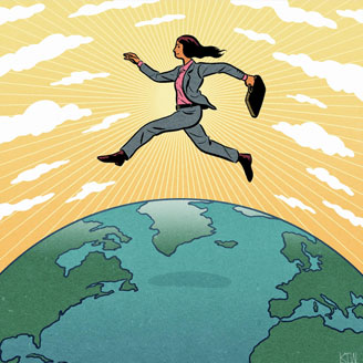 Graphic illustration of a professional woman holding a briefcase leaping over the earth and through a yellow sun-and-cloud-filled sky.