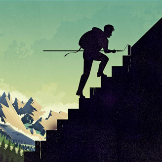 Graphic illustration of a mountaineer climbing a mountain while painting the steps immediately ahead of him.