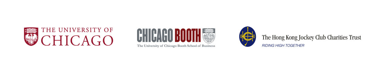 3 logos, Chicago Booth, University of Chicago, and The Hong Kong Jockey Club