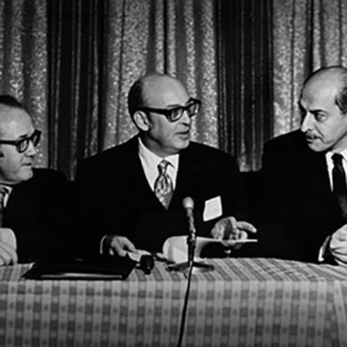 Economist Beryl Sprinkel and professors Walter Fackler and Irving Schweiger prepare for the 1971 Business Forecast.