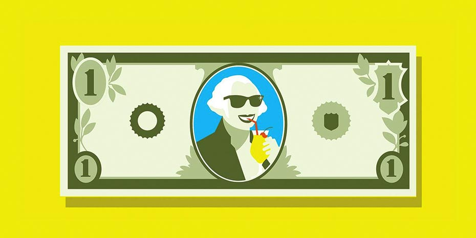 Illustration of dollar bill with George Washington drinking a frozen cocktail