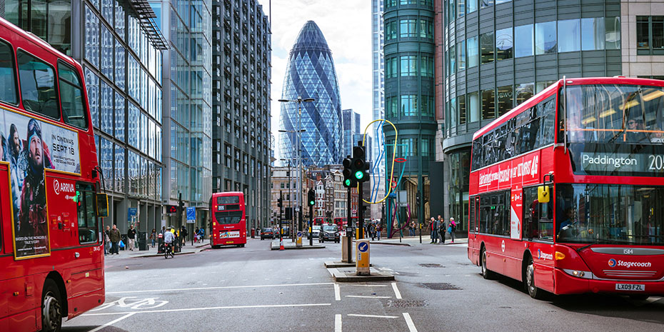 London City Street with Buses