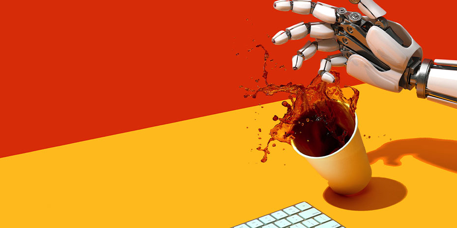 Artificial Intelligence Knocking Over Coffee Cup