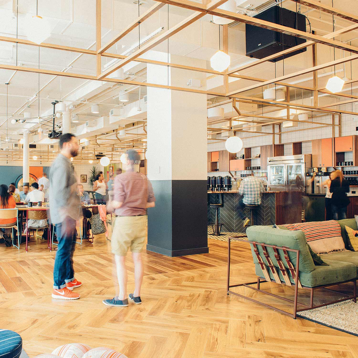 The open WeWork foor plan promotes community. Photography by Cait Oppermann.