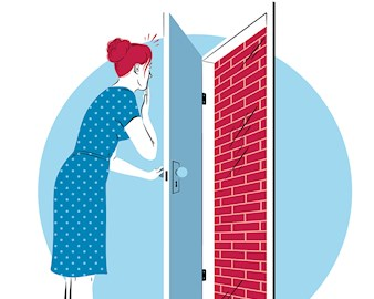 Illustration of a woman opening a door to a brick wall