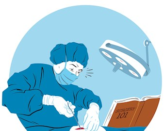 Illustration of a surgeon performing an operation while reading a book titled Surgery 101