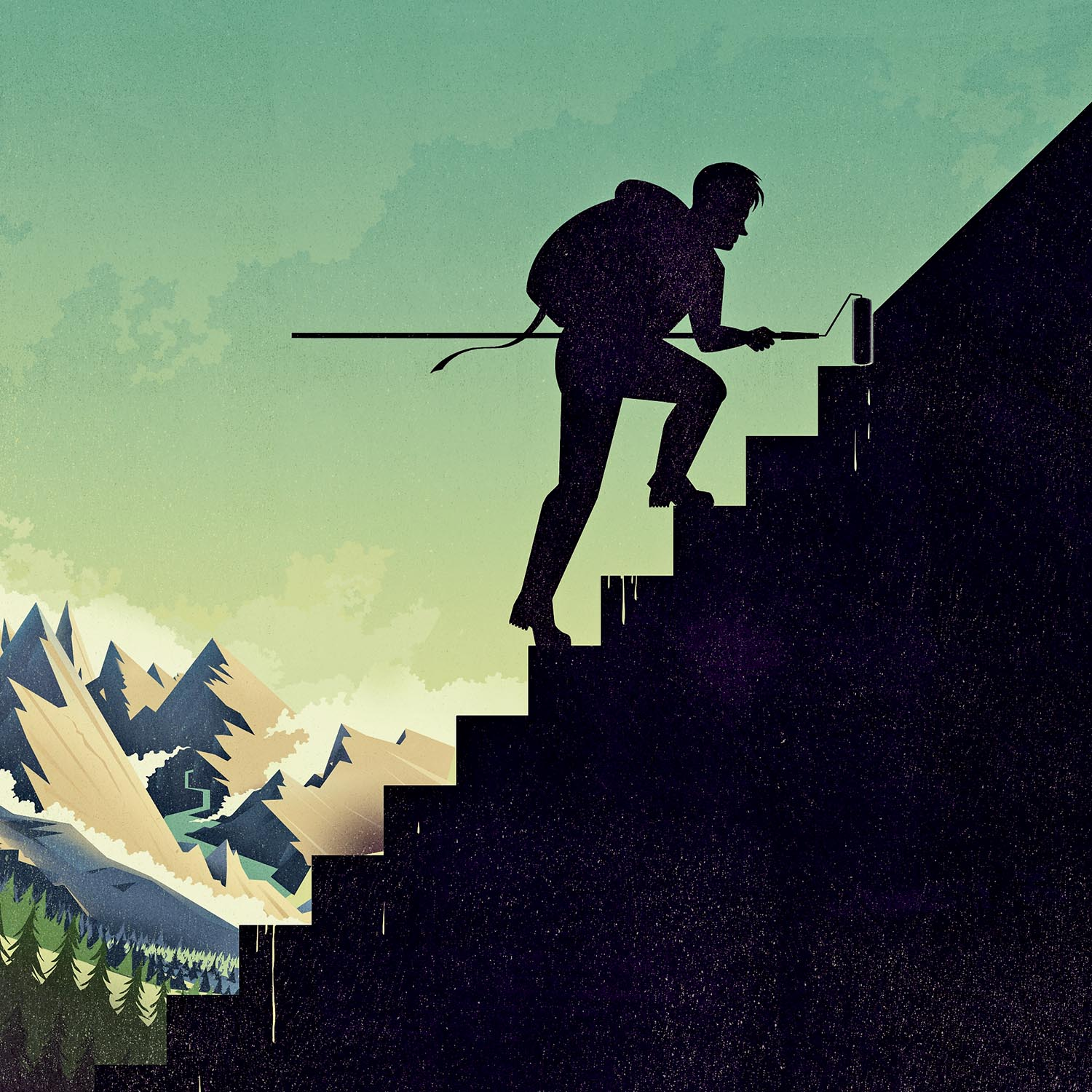 A Long Journey Made Short Stairs Illustration