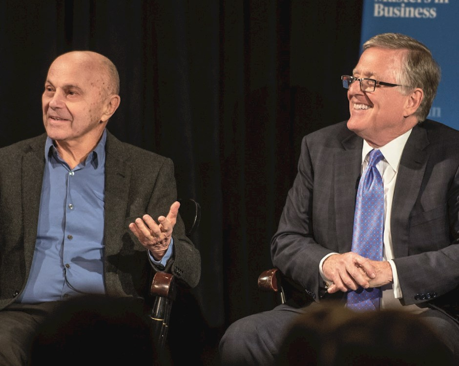Eugene F. Fama, MBA '63, PhD '64 and David Booth, '71 in conversation at Harper Center event