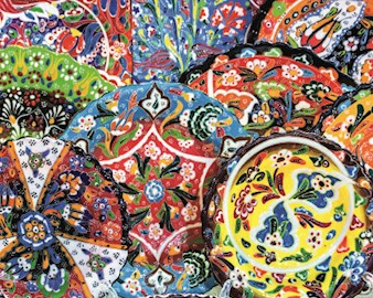 Colorful painted ceramics in a Dubai mall