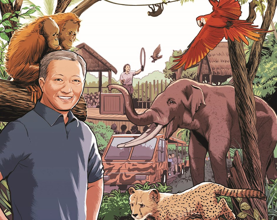 Illustration of Benjamin Tan, '06, jungle wildlife in background