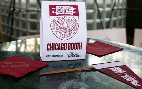 Chicago Booth Worldwide Booth Night table setting