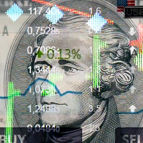 Graphic of Alexander Hamilton on $10 bill with stock graphics and text overimposed