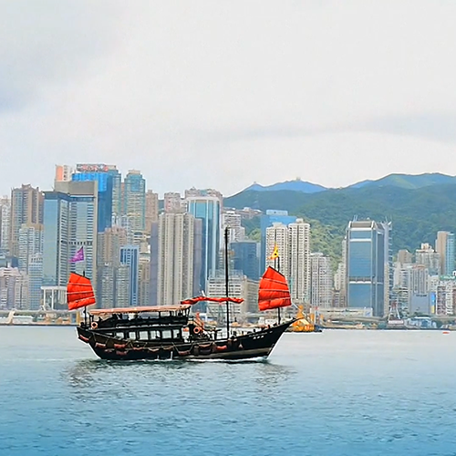 Image of Hong Kong Skyline with dragon boat