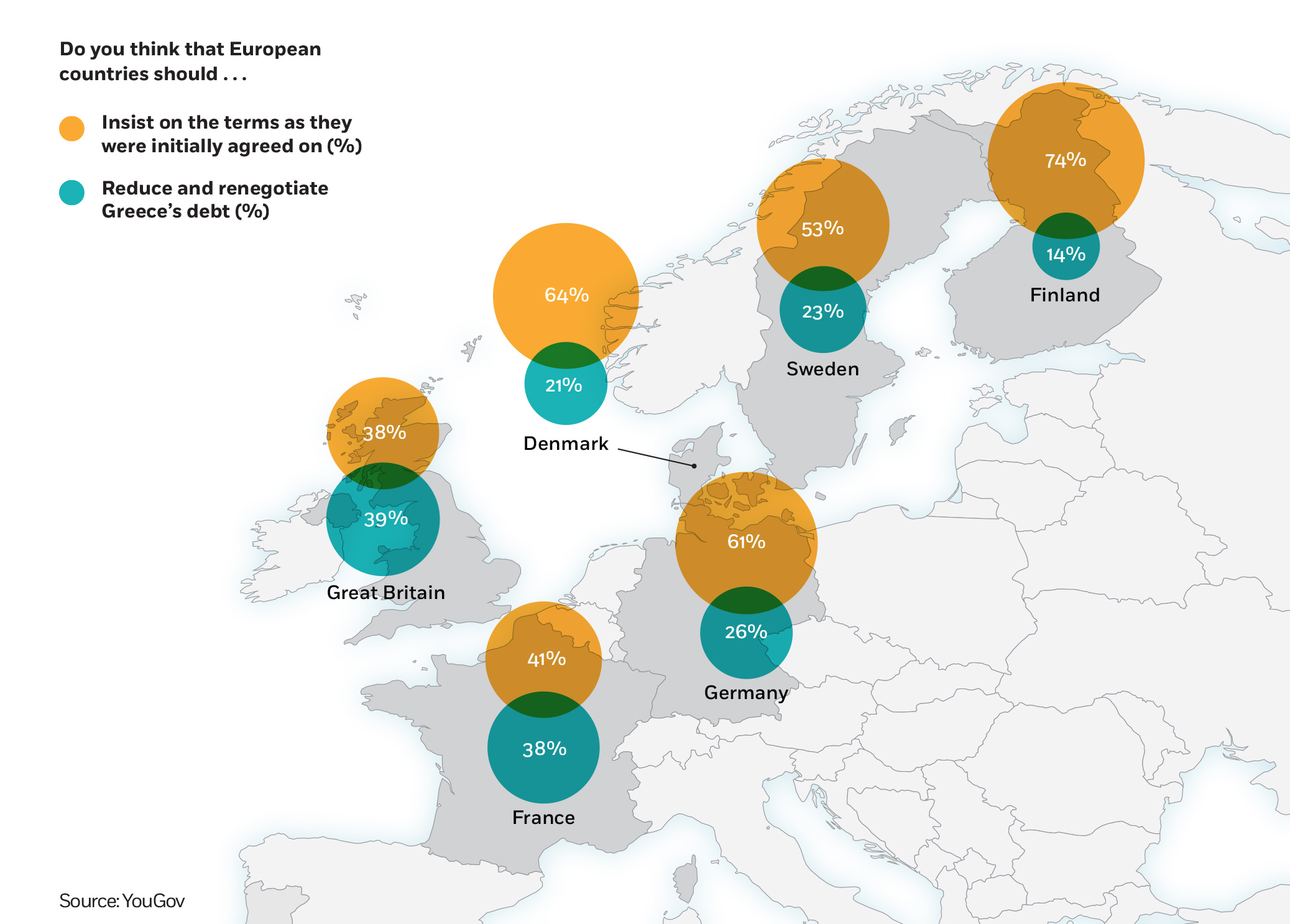 Map showing Europeans' opinions on Greece's debt