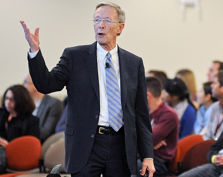 Harry Davis leading a lecture in a classroom during Reconnect