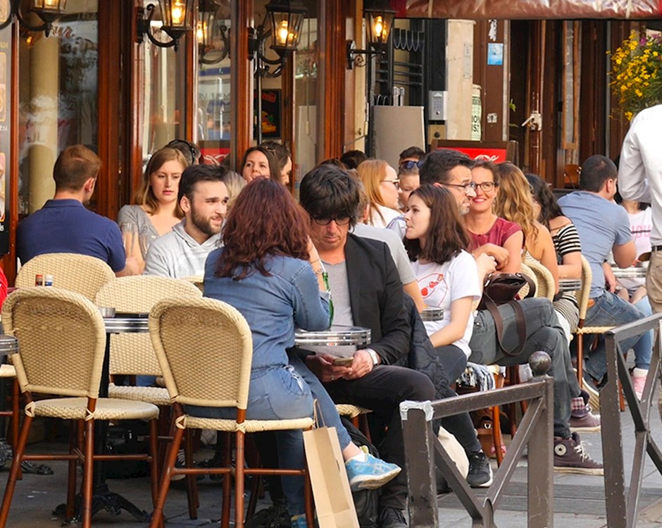 People sitting at an outdoor cafe