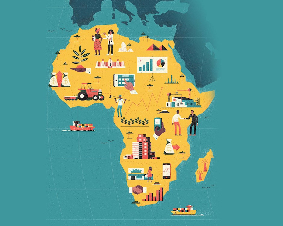 Illustration of Africa with various icons and images in it.
