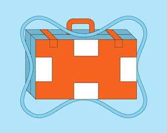 A briefcase illustrated as a life preserver
