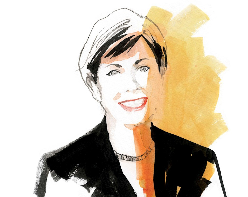 A hand sketch of Roxanne Martino, a short-haired woman in black business suit, with orange and yellow watercolors adding visual interest.
