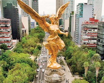 Gold statue in Mexico City