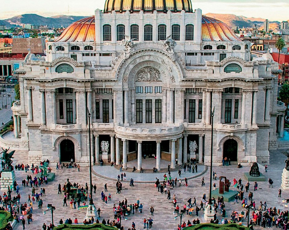Mexico City building with a crowd from above