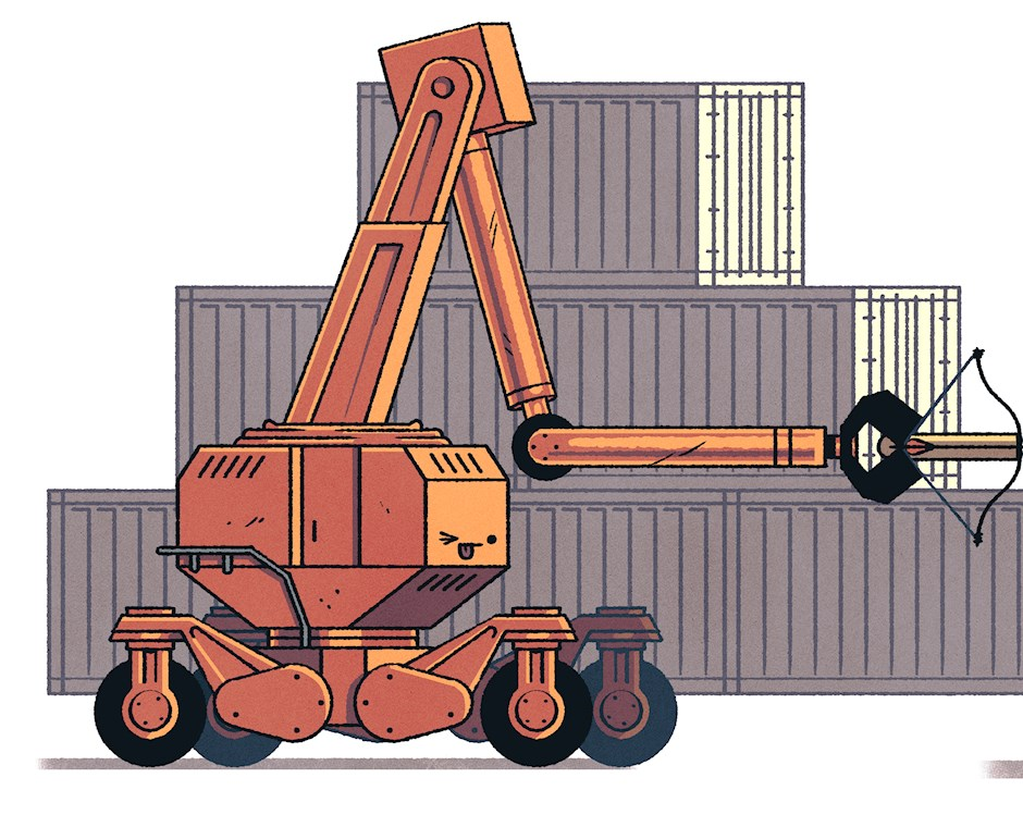 Illustration of a lifting crane aiming a bow and arrow at a man with an apple on his head, with stacked shipping containers in background.