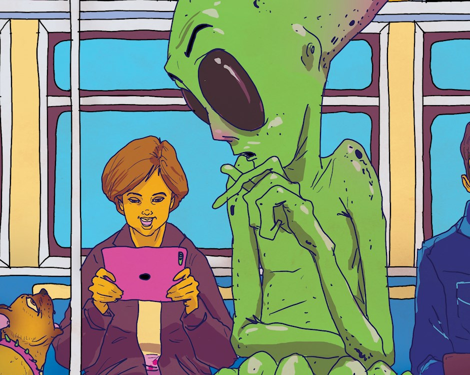 Illustration of people commuting via train, all looking at tablet or phone screens and not seeing the large green alien overlooking a woman on her tablet.