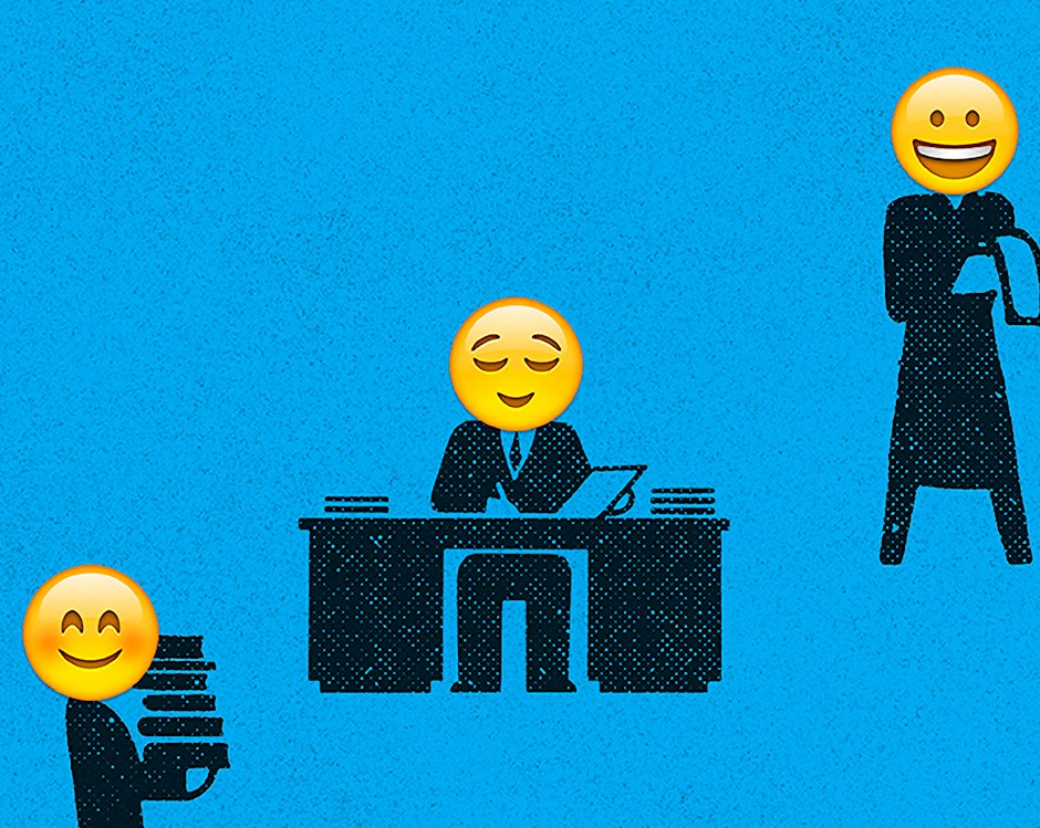 Illustration of black newsprint-style business people working, reading or carrying stacks of papers, with yellow emoji smiley faces in place of heads.