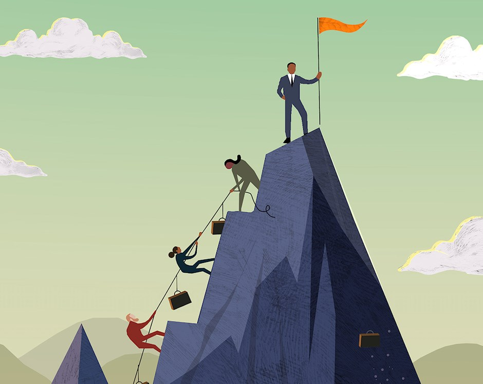 Illustration of business people climbing a mountain. One man in business suit has reached the top and is holding an orange pennant. Three others are still climbing, hauling their briefcases on ropes between them.