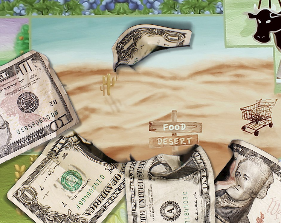 Mixed media illustration of a farm with crops separated into quadrants. In the middle of the farm is a barren dessert with dollar bills emerging from the edges.