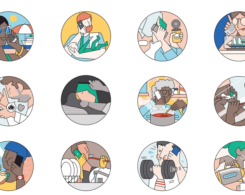Illustration of a call center man having a conversation on the phone. To the right, a dozen circles show people doing a multitude of activities while on hold: on a cruise, holding a baby, preparing a meal, making a sailboat in a bottle, sleeping, brushing teeth, eating, lifting weights.