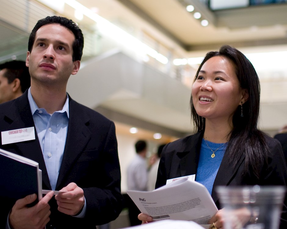 Full-Time MBA students networking at Chicago Booth Corporate Night