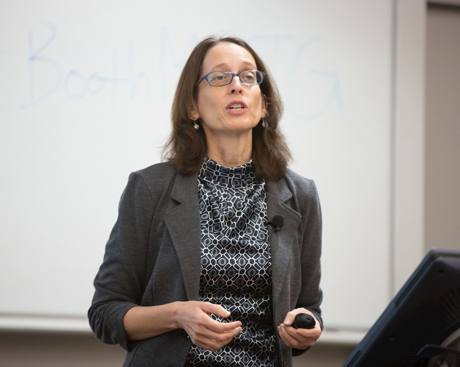 Ayelet Fishbach, Professor of Behavioral Science and Marketing, teaching a class