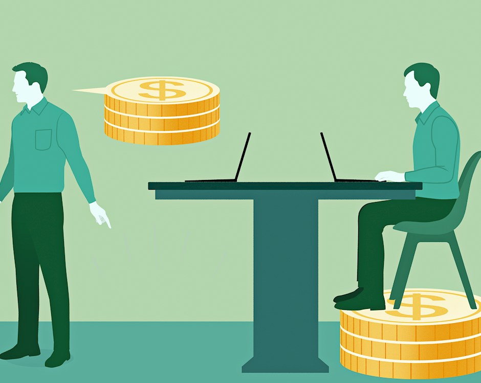 Illustration of 3 businessmen, two having conversation and one sitting at table working on laptop. Speech bubble beside one of standing men forms three gold coins. Sitting man's chair is atop similar gold coins.