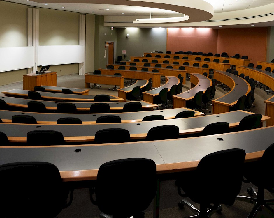 A view of an empty classroom at the Harper Center