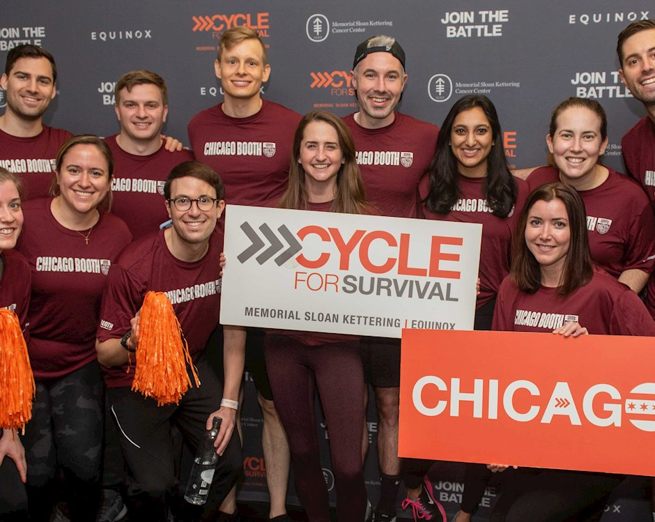 Booth students at a Soul Cycle event