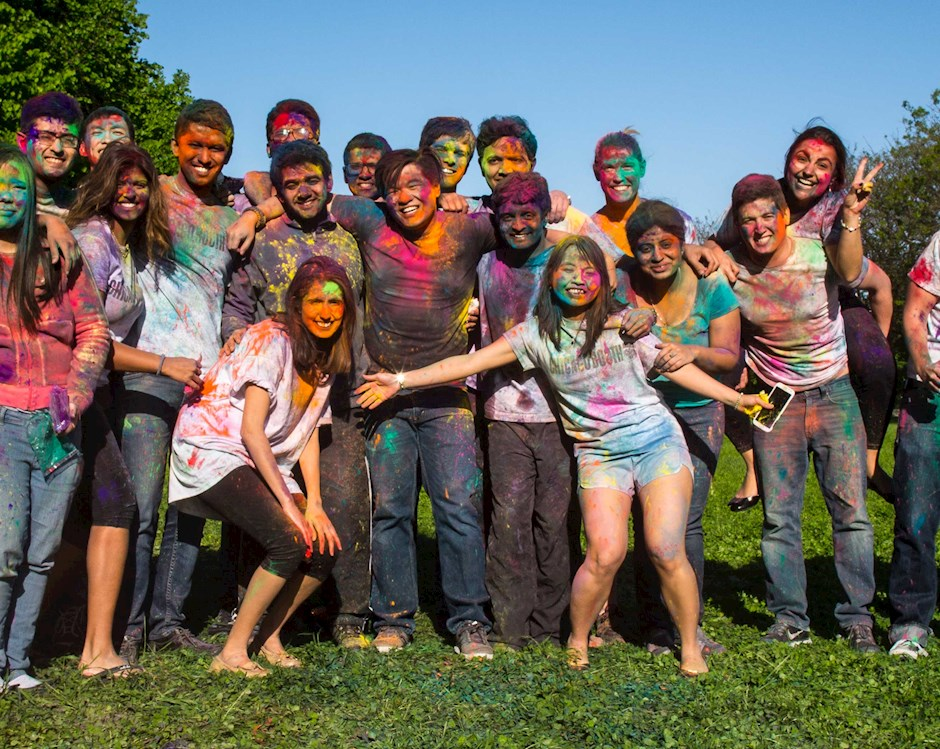 Chicago Student group after a color run