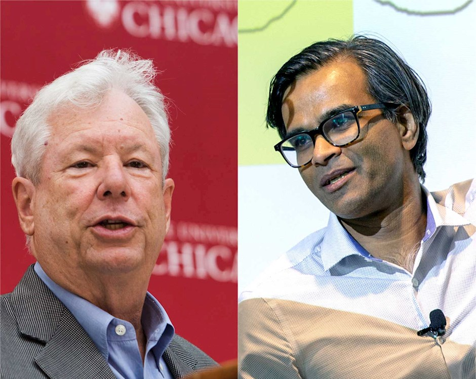 Booth faculty members Sendhil Mullainathan (right) and Richard H. Thaler (left)
