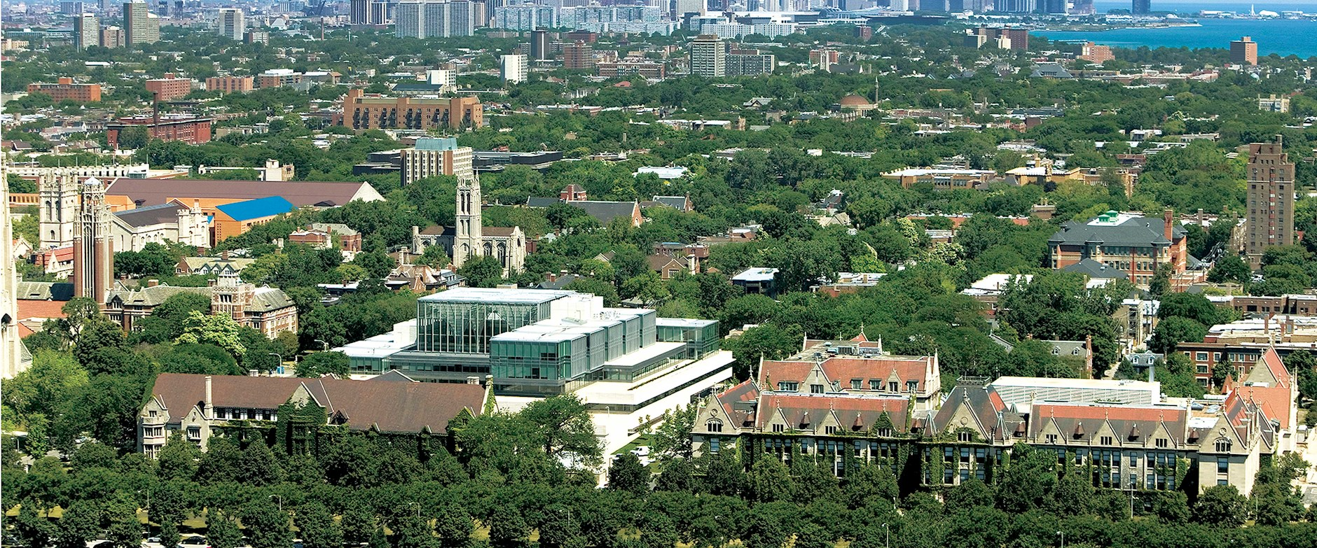 Aerial view of the Harper Center at Chicago Booth